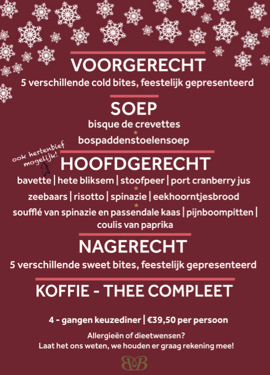 Kerstmenu 2019 Bubbles and Bites Roermond